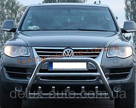 Защита переднего бампера кенгурятник из нержавейки на Volkswagen Touareg 2002-2010