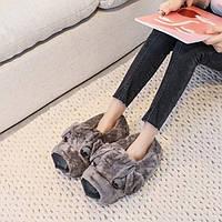 Домашние тапочки женские Собака Grey