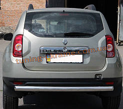 Защита заднего бампера труба одинарная из нержавейки на Dacia Duster 2010