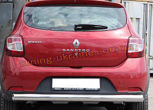 Защита заднего бампера труба одинарная из нержавейки на Renault Sandero Stepway 2014