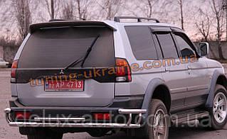 Защита заднего бампера труба с уголками из нержавейки на Mitsubishi Pajero Sport 1998-2008