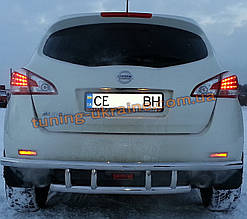 Защита заднего бампера труба двойная из нержавейки на Nissan Murano 2008-2014