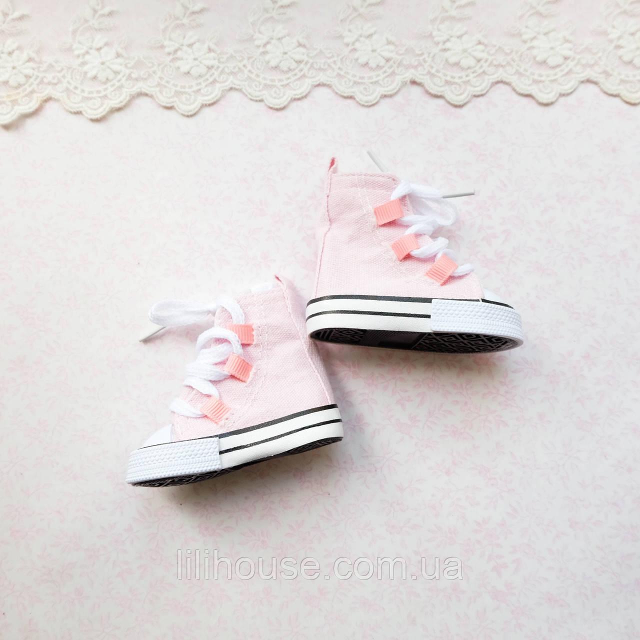 Обувь для кукол, кеды высокие на шнуровке розовые - 7*3 см