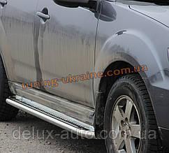 Боковые пороги площадка труба с листом из нержавейки на Mitsubishi Outlander 2006-2012