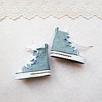 Обувь для Кукол Кеды ВЫСОКИЕ на Шнуровке 7*3 см ДЖИНС