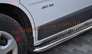 Боковые пороги площадка труба с листом из нержавейки на Opel Movano A 1998-2010 short