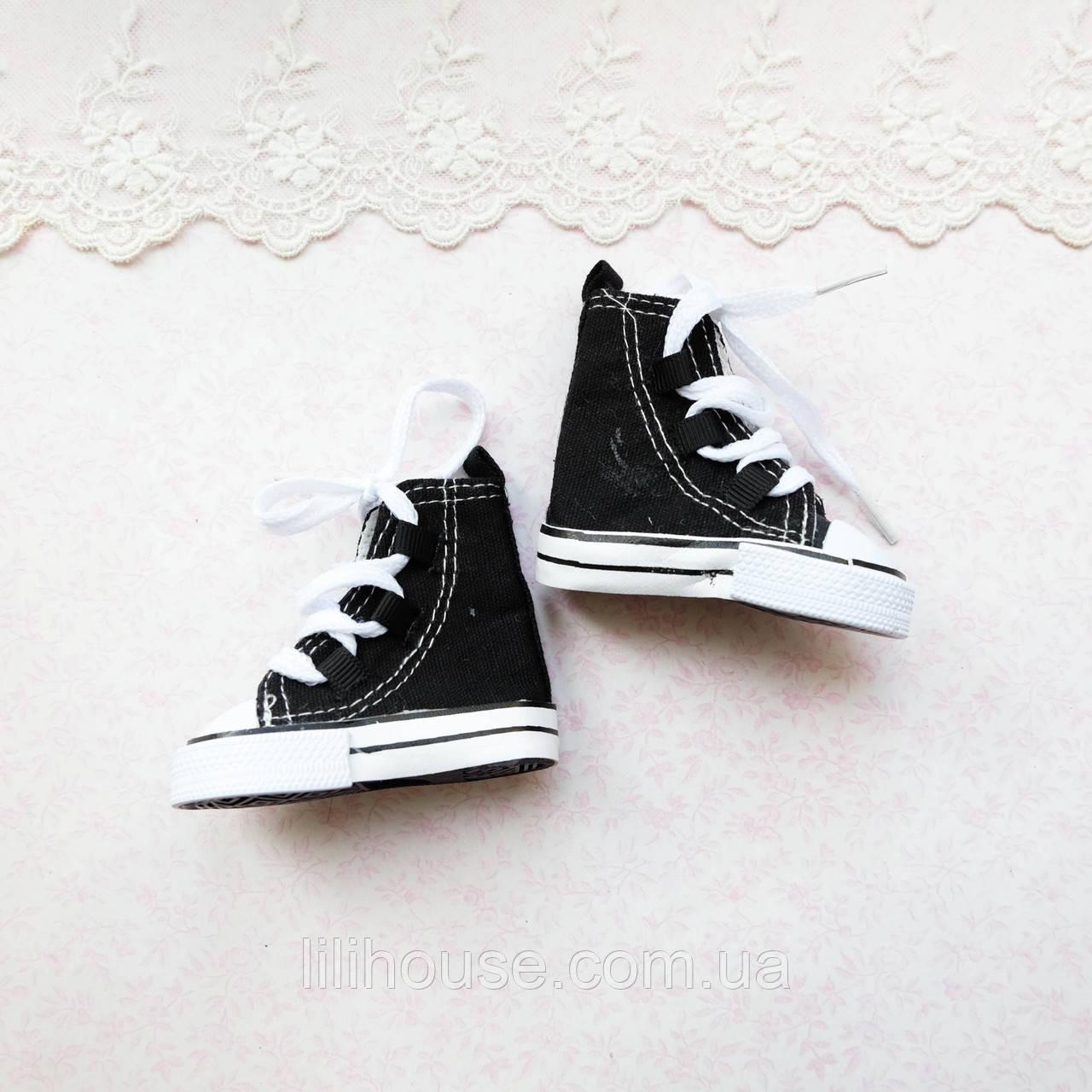 Обувь для кукол, кеды высокие на шнуровке черные - 7*3 см
