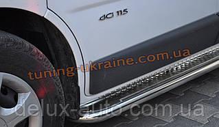 Боковые пороги площадка труба с листом из нержавейки на Opel Combo D 2011 short