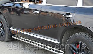 Боковые пороги площадка труба с листом из нержавейки на Porsche Cayenne 955 2002-2006