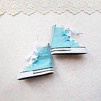 Обувь для Кукол Кеды ВЫСОКИЕ на Шнуровке 7*3 см ГОЛУБЫЕ