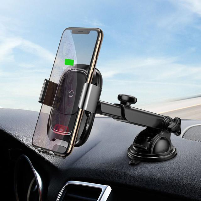 Автодержатель для телефона с беспроводной зарядкой Baseus Smart Vehicle Bracket Sucker style WXZN-B01 Черный