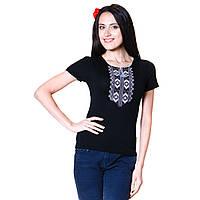 Женская вышитая футболка. Гуцульский орнамент серебро, фото 1