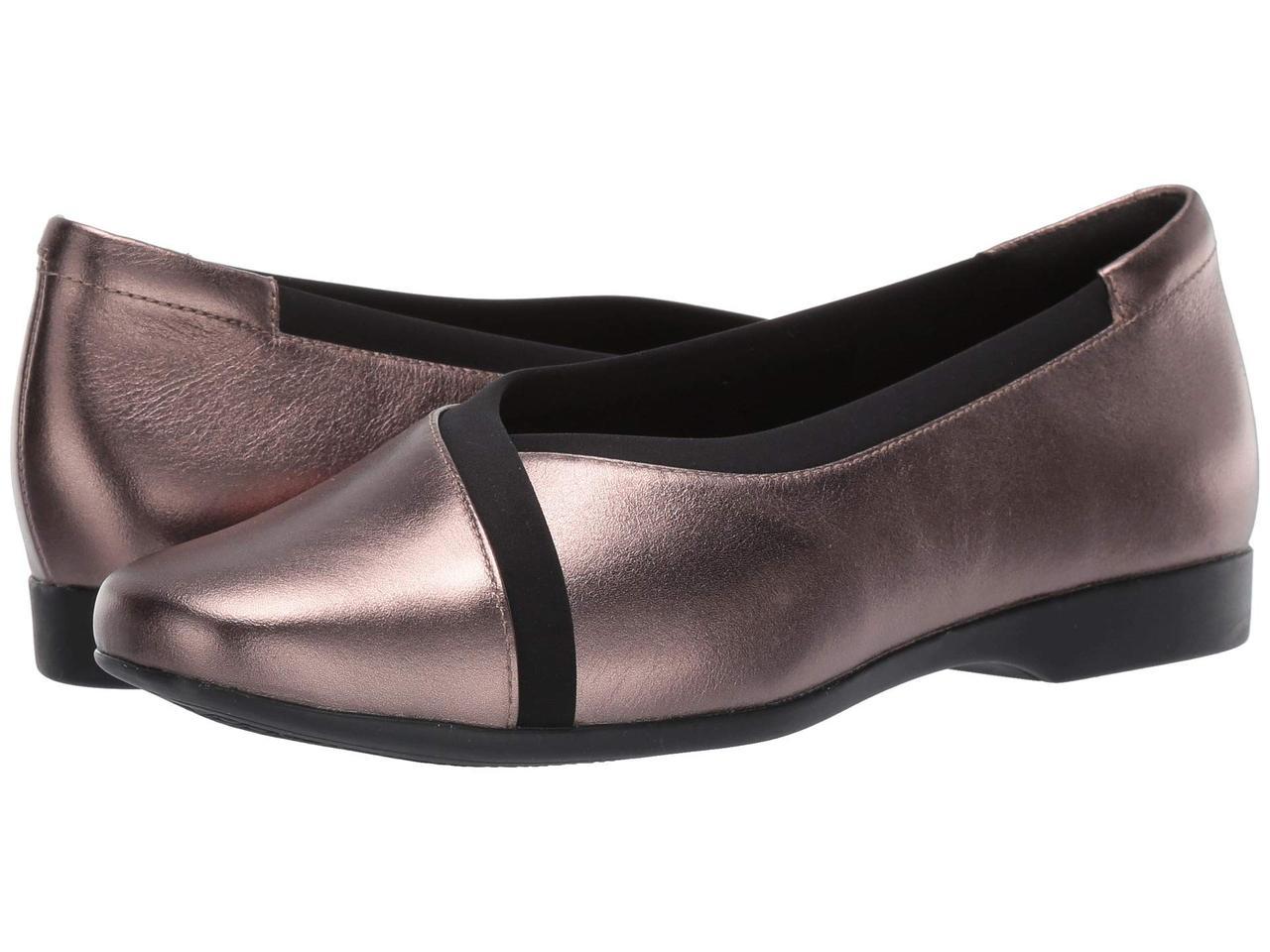 Туфли без каблука (Оригинал) Clarks Un Darcey Ease Pebble Metallic Leather