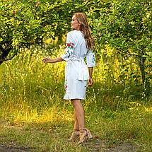 Женское белое платье вышиванка с маками Соломия, фото 2