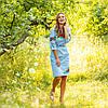 Голубое вышитое платье женское Соломия хлопок, фото 4
