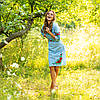 Голубое вышитое платье женское Соломия хлопок, фото 3