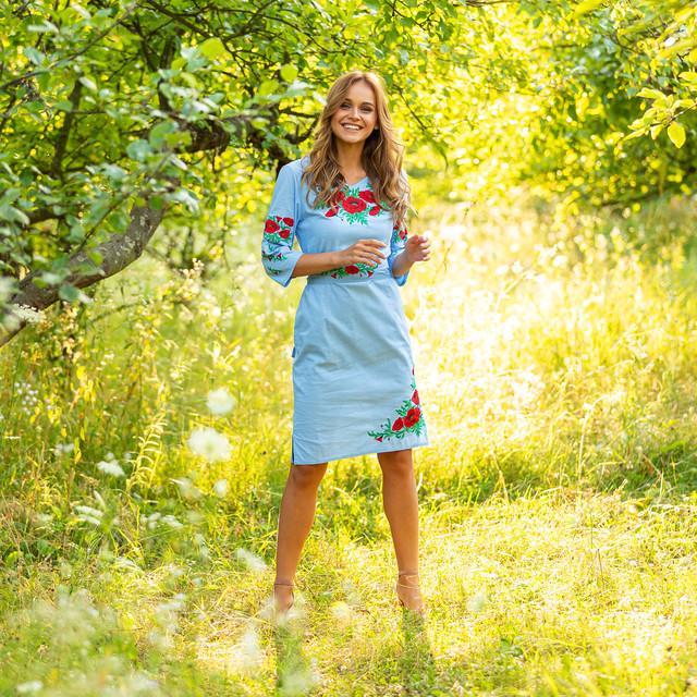 Голубое вышитое платье женское Соломия хлопок