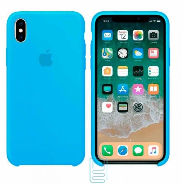 Чехол Silicone Case Apple iPhone X. XS голубой 16