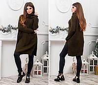 Женское теплое вязанное платье-туника. Турция