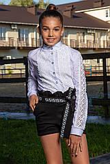 Школьные модные шорты Madlen с принтованной тесьмой ,на резинке Размеры 134-164