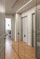 Шкаф в прихожую с зеркальными дверями в алюминиевой рамке.