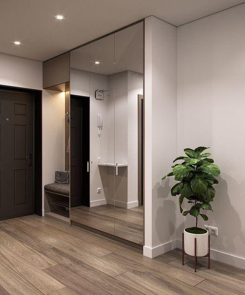 Шкаф в прихожую с зеркальными дверями в алюминиевой рамке и мягкой прихожей
