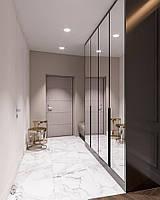 Шкаф в прихожую с зеркальными дверями под потолок