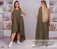 Платье летнее каскад шифон премиум 42-48,50-54