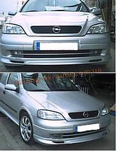 Юбка на передний бампер под покраску на Opel Astra G 1998-2005 sd/hb