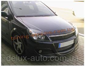 Юбка на передний бампер под покраску на Opel Astra H 2004-2010 sd/hb