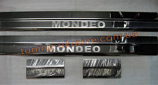 Хром накладки на пороги надпись гравировкой для Ford Mondeo 2008-2013