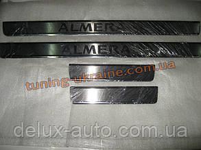 Хром накладки на внутренние пороги надпись гравировка для Nissan Almera 2000-2006