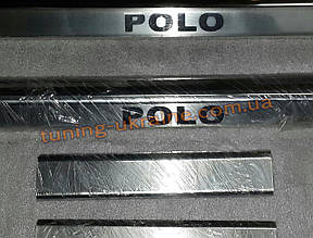 Хром накладки на внутренние пороги надпись штамповка для Volkswagen Polo 5 2009-2015 седан
