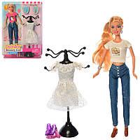 Кукла с нарядом DEFA 8417 30см, платье, вешалка, 2вида, в слюде, 25-32,5-5,5см