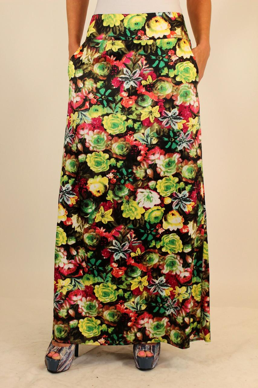 Длинная юбка с цветочным принтом 44-46 р