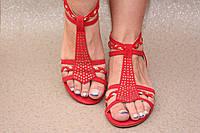 Босоножки красные без каблука, фото 1