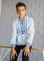 Рубашка вышиванка для мальчика Капрал синяя 116-140