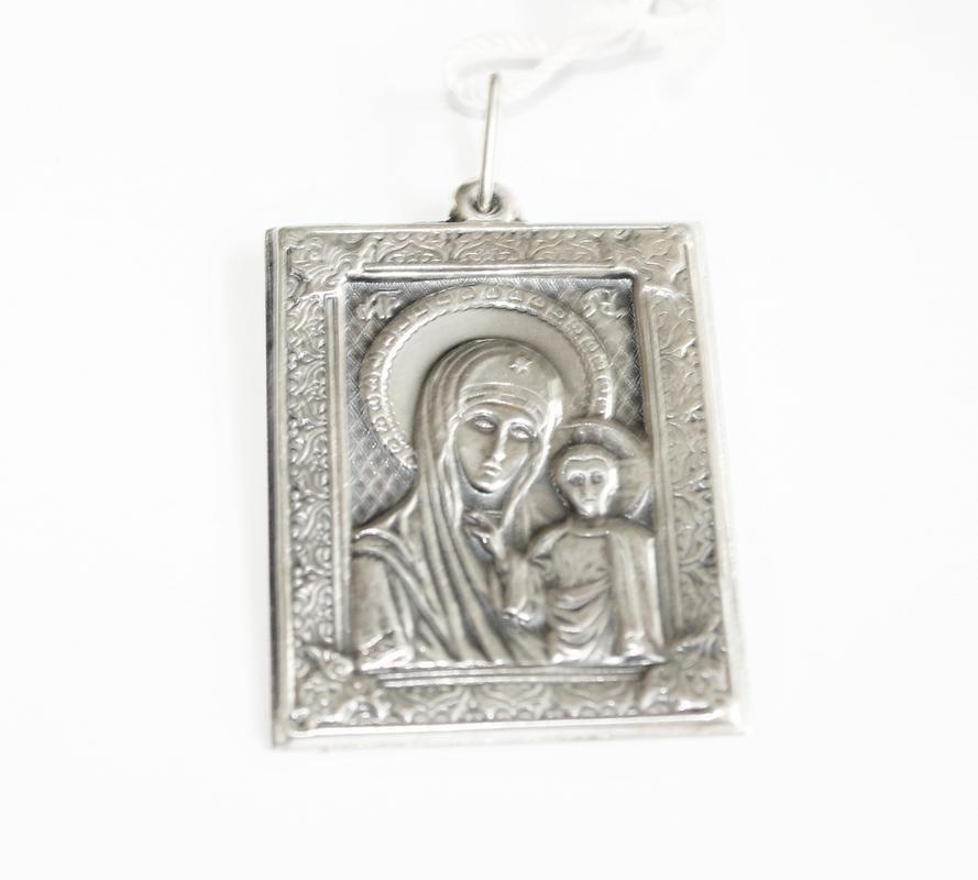 Подвес-иконка из серебра Божией Матери Казанская