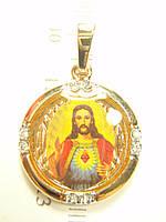 """Кулон Позолота + Родий """"Икона Иисус 8 Кристаллов"""""""