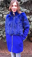 Кашемірове пальто жіноче з хутром кролика Електрик, фото 1