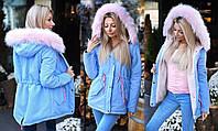 """Женская тёплая зимняя куртка-парка до больших размеров 9015 """"Парка Цветной Мех"""" в расцветках"""