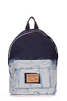 Рюкзак джинсовый PoolParty синий с голубым