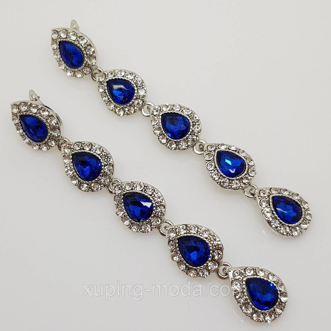 Серьги подвески. Серьги с синими камнями