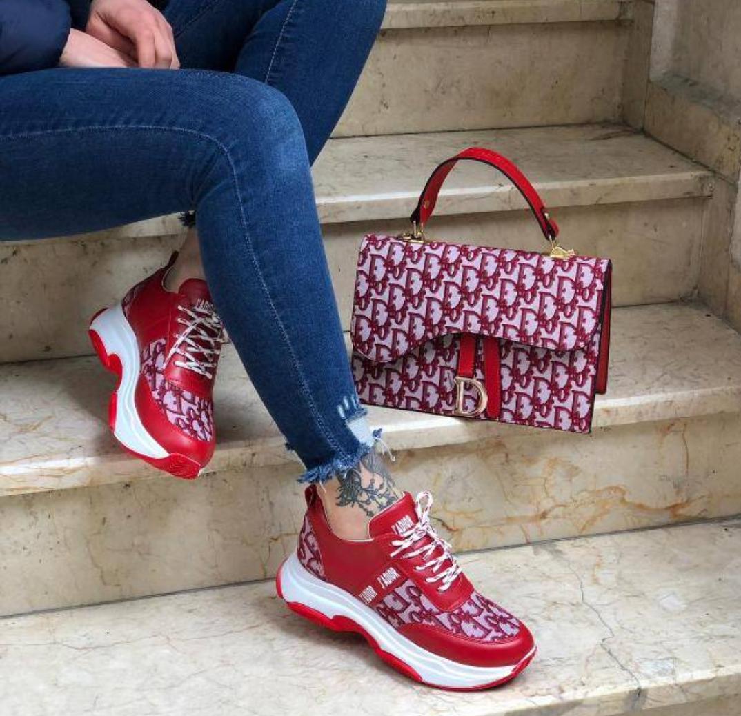 Комплект женская Сумка и кеды Dior красные