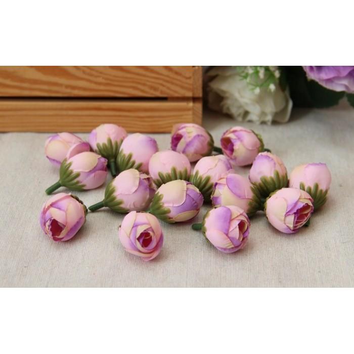 Розочка  бутон  № 2  ,  розовая с сиреневым       100 шт