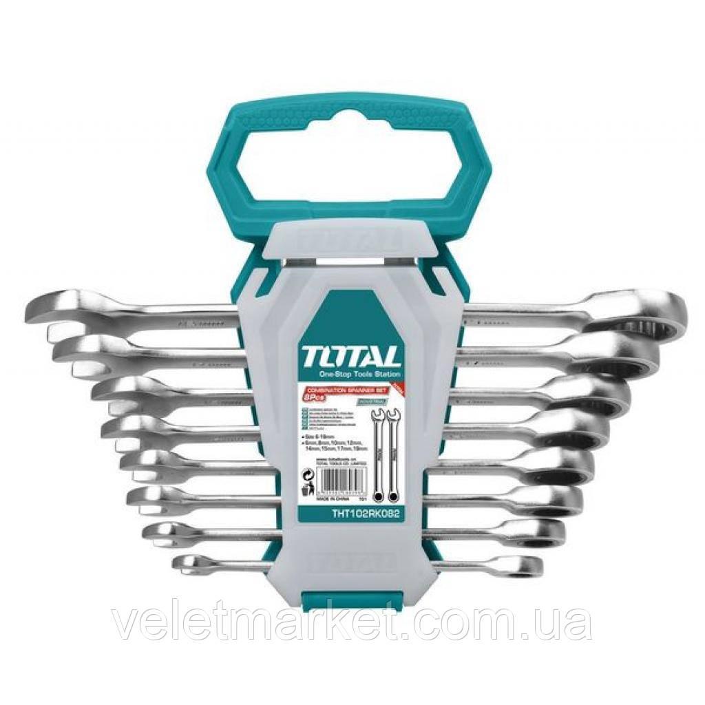 Набор инструментов TOTAL ключей комбинированных с трещеткой 8 шт. (THT102RK086)