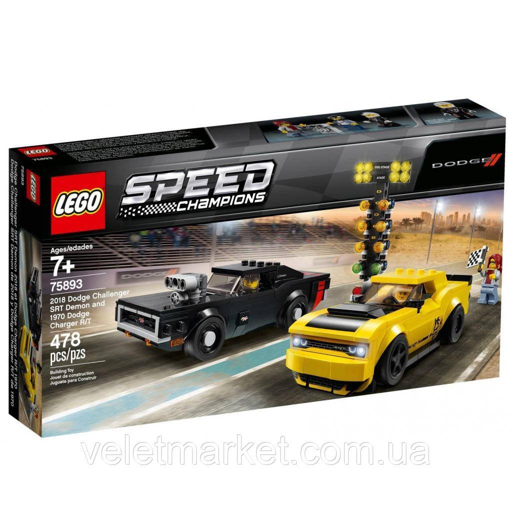Конструктор LEGO Speed Champions  Dodge Challenger SRT Demon и 1970 Dodge (75893)