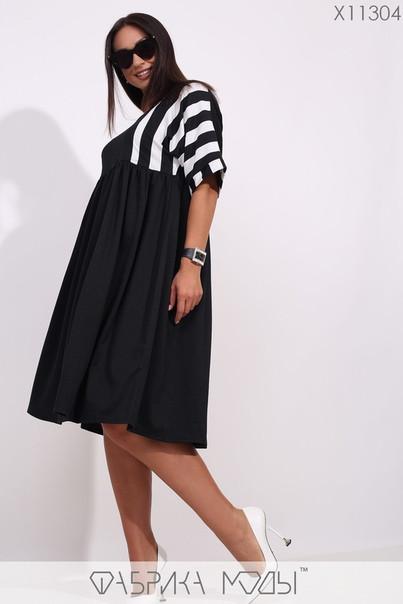 Трикотажное платье-миди с цельнокроенным верхом, отрезной завышенной талией и объемной размеры: 48-50; 52-54