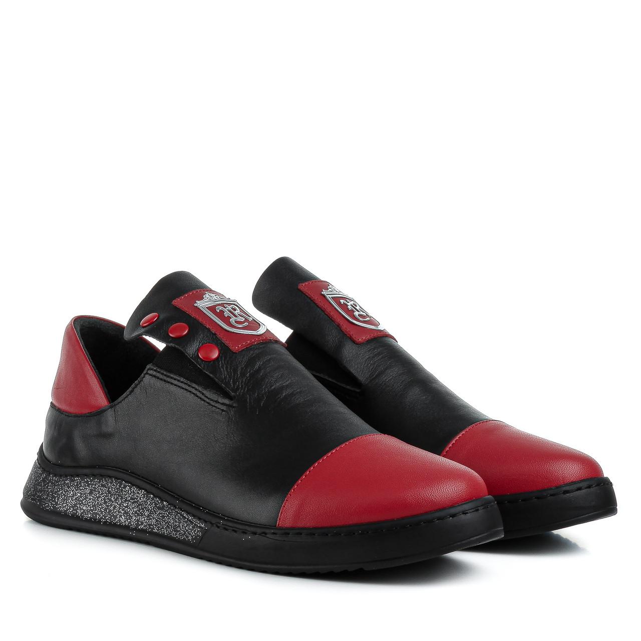 Туфли женские EVROMODA (кожаные, стильные, с красными вставками)