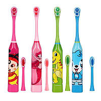 Детская электрическая зубная щетка + сменная насадка, батарейка. Упаковка.